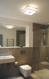 Bathroom lighting with mirrors and downlights