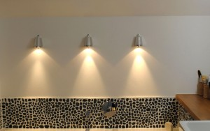 Bathroom lighting using exterior lights